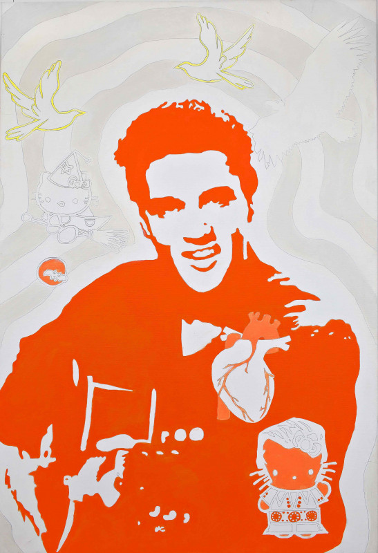 1. Elvis - The King (from the Series Heroes), mixed media, canvas, 120 x 80 cm, 2011, Gallery Klatovy Klenová
